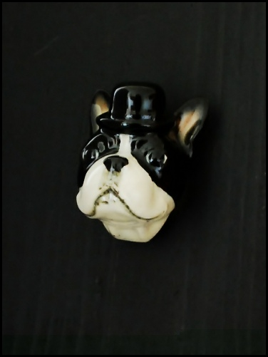 ceramic, door, knob, animals, dog, hat, vintage, collectable, terrier