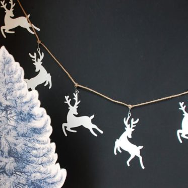 White Pompom Reindeer Garland